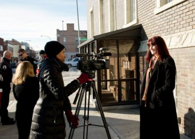 Suzanne being interviewed in Idaho.